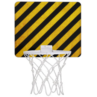 Grunge hazard stripe mini basketball hoop