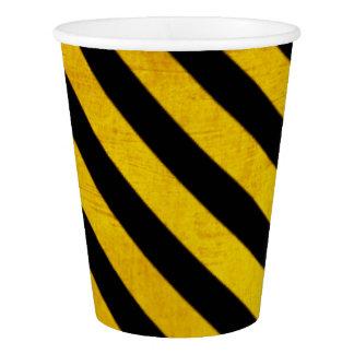 Grunge hazard stripe paper cup