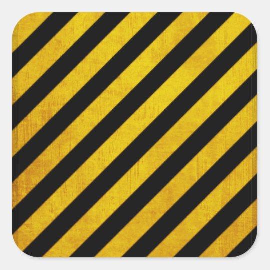 Grunge hazard stripe square sticker