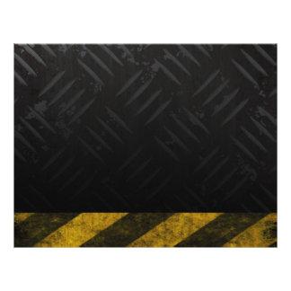 Grunge Hazard Stripes Diamond Plate Full Color Flyer
