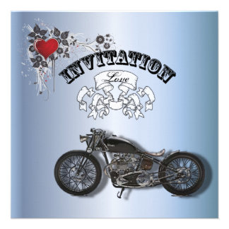 Grunge Heart Motorcycle Biker Wedding Invitation