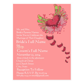 Grunge Heart Raspberry Pink Wedding Invitation Postcard