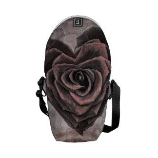 Grunge heart rose messenger bag
