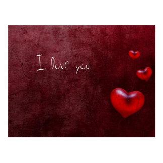 Grunge hearts - Postcard