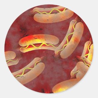 Grunge Hotdogs Round Sticker