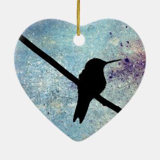 Grunge Hummingbird Ceramic Heart Decoration