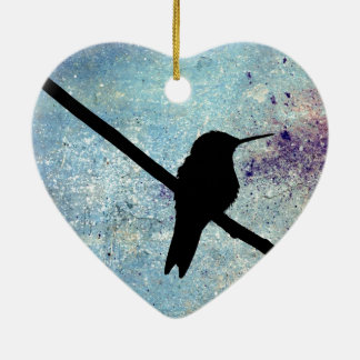 Grunge Hummingbird Christmas Ornament