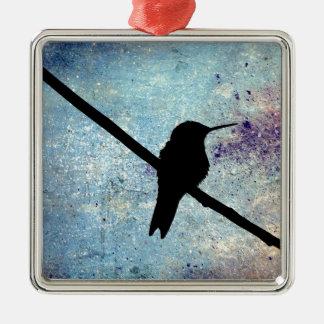 Grunge Hummingbird Silver-Colored Square Decoration