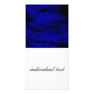 Grunge INKY BLUE Photo Greeting Card