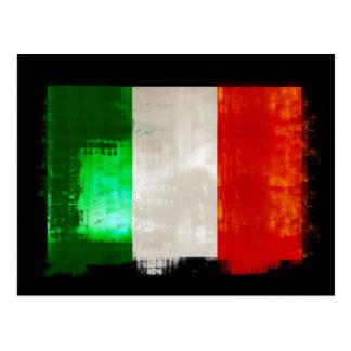 Grunge Italian flag of Italy vintage retro style Postcard