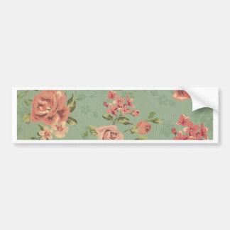Grunge,jade,coral,floral,vintage,shabby chic,roses bumper sticker