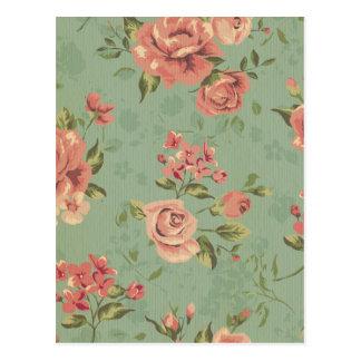 Grunge,jade,coral,floral,vintage,shabby chic,roses postcard
