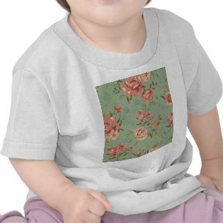 Grunge,jade,coral,floral,vintage,shabby chic,roses shirts
