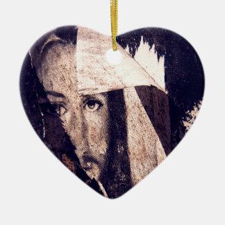 Grunge Jesus  graffiti image Ceramic Heart Decoration