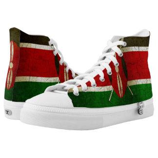 Grunge Kenya Flag Printed Shoes