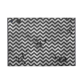 Grunge Look Distressed Chevron Pattern in Greys Covers For iPad Mini