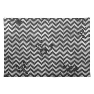 Grunge Look Distressed Chevron Pattern in Greys Placemat