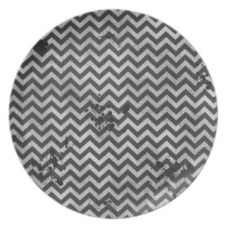 Grunge Look Distressed Chevron Pattern in Greys Plate