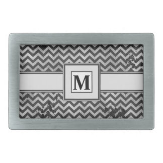 Grunge Look Distressed Chevron Pattern in Greys Rectangular Belt Buckles
