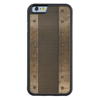 Grunge metal background carved maple iPhone 6 bumper case