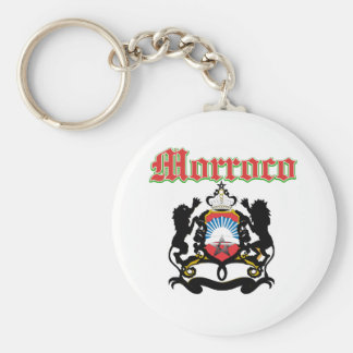 Grunge Morocco coat of arms designs Basic Round Button Key Ring