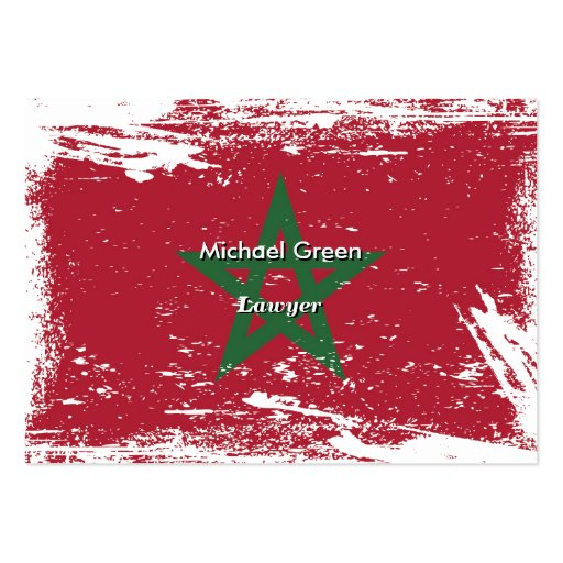 Grunge Morocco Flag Business Card Template