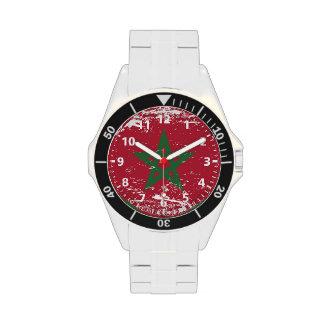 Grunge Morocco Flag Wrist Watches