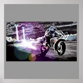 Grunge motorcycle racer poster