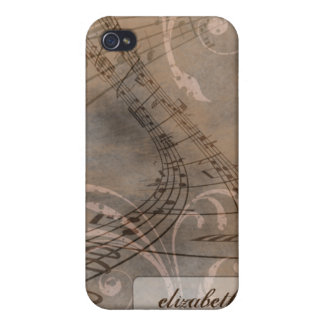 Grunge Music Notes iPhone 4/4s Case (brown)