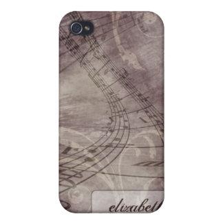 Grunge Music Notes iPhone 4/4s Case (purple)