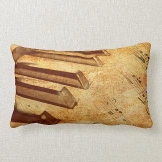 Grunge Music Sheet Piano Keys Lumbar Cushion