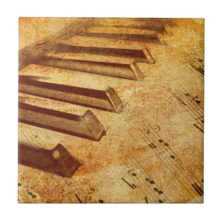 Grunge Music Sheet Piano Keys Tile