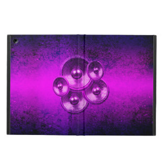 Grunge music speakers on a purple wall cover for iPad air