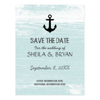 Grunge Nautical Save the Date Postcard