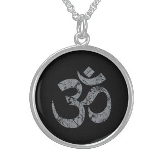 Grunge OM Symbol Spirituality Yoga Sterling Silver Necklace