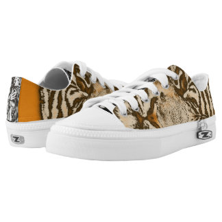 Grunge Orange Abstract Tiger Printed Shoes