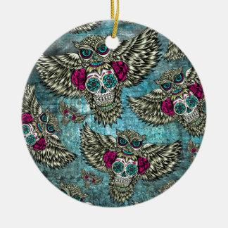 Grunge Owls with sugar skulls Christmas Ornament