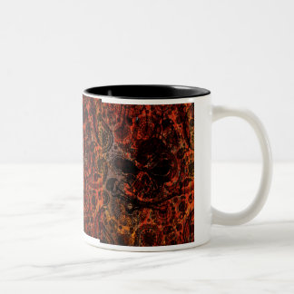 Grunge Paisley and Fire Skull and Crossbones Two-Tone Mug