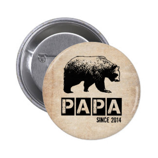 Grunge Papa Bear Since 2014, Black 6 Cm Round Badge