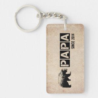Grunge Papa Bear Since 2014, Black Double-Sided Rectangular Acrylic Key Ring