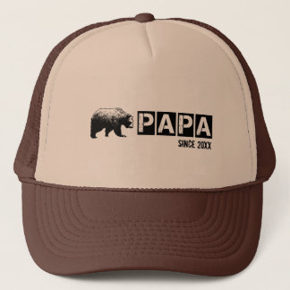 Grunge Papa Bear Since Year, Black Trucker Hat