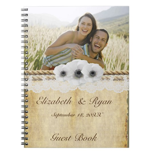 Grunge Paper, White Anemone, Lace, Guest Book