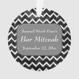 Grunge Pattern Black and White Chevron Bar Mitzvah Ornament