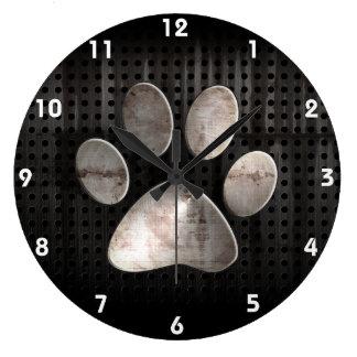 Grunge Paw Print Large Clock