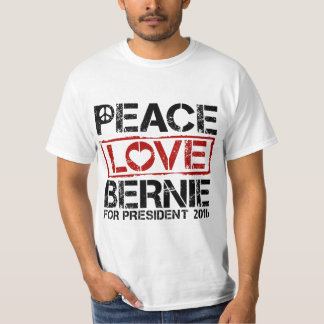 Grunge Peace Love Bernie For President T-Shirt