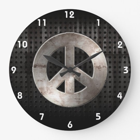 Grunge Peace Sign Large Clock