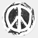 Grunge Peace Symbol Classic Round Sticker