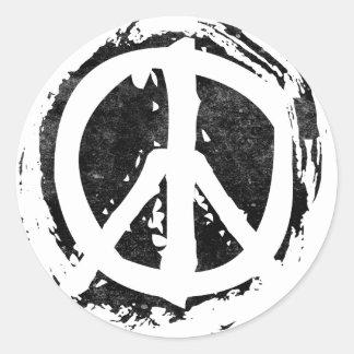 Grunge Peace Symbol Round Sticker