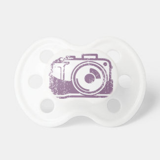 Grunge Photo Camera Stamp Baby Pacifiers