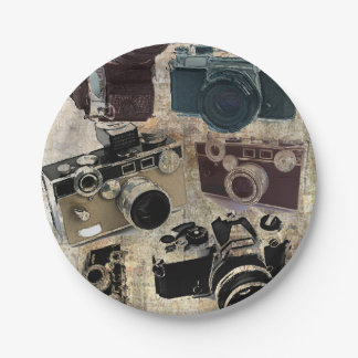 Grunge photographer photography Vintage Camera 7 Inch Paper Plate